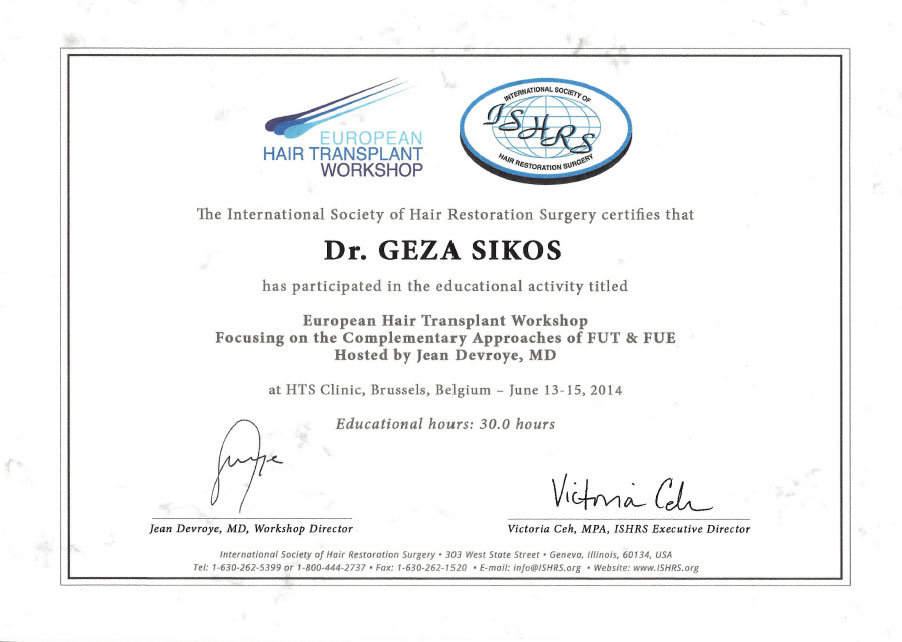hair transplant workshop certificate dr. Sikos