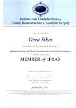IPRAS tagság diploma dr. Sikos