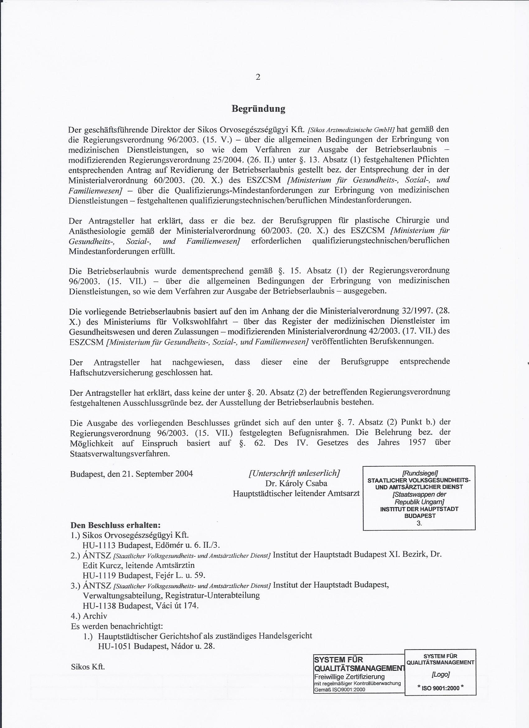 Betriebserlaubnis Sikos Clinic