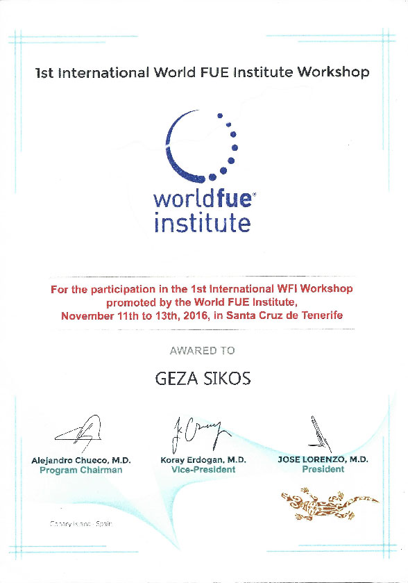 1. World FUE INstitute workshop