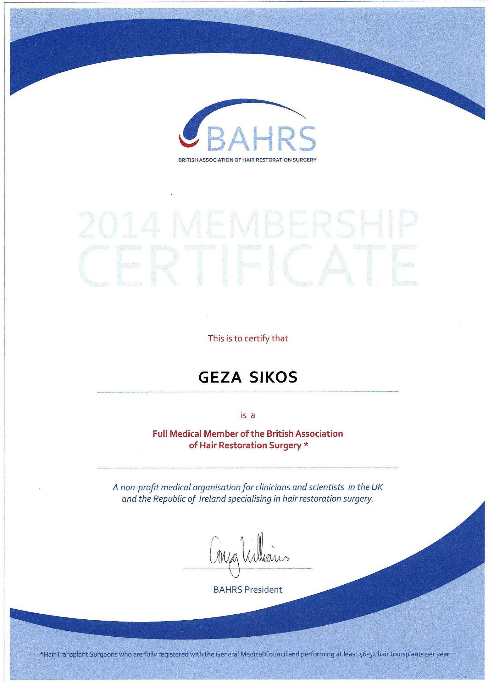 BAHRS tagsági diploma